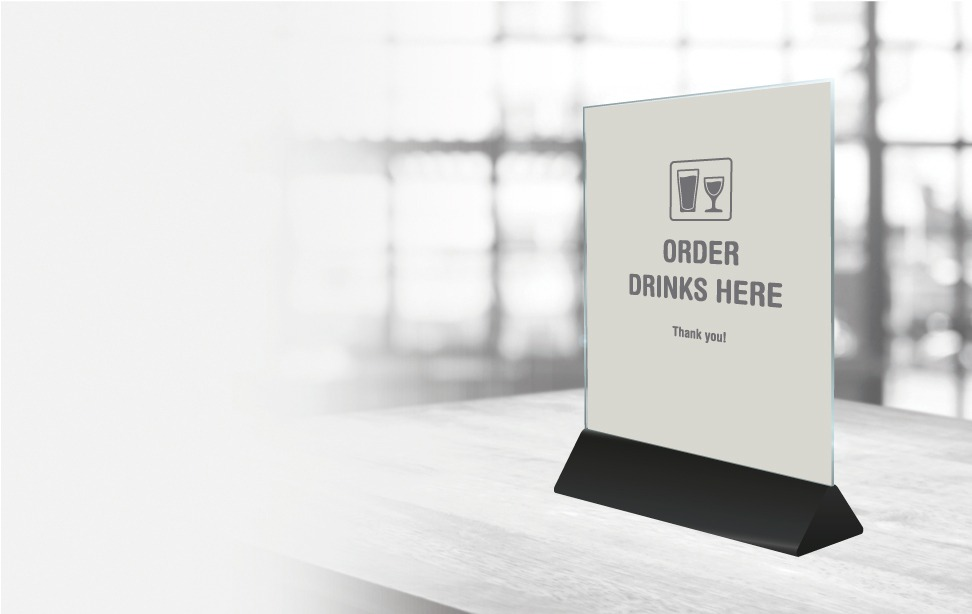 menu card holder - order drinks here